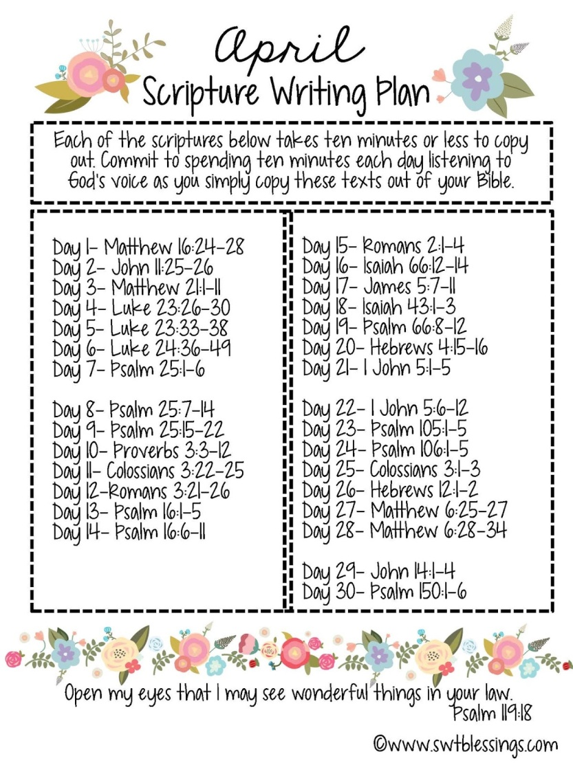 APRIL Scripture Writing Plan English